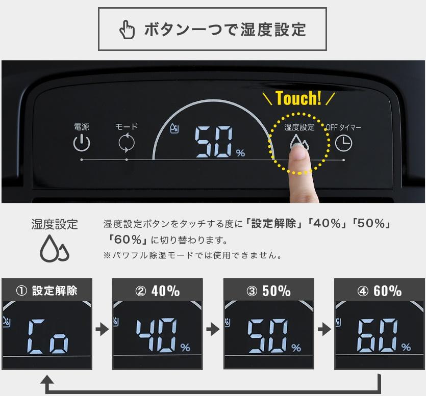 コンプレッサー式除湿器湿度設定